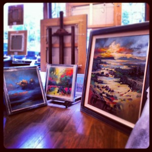 Arisaig 1 metre square paitning in its frame