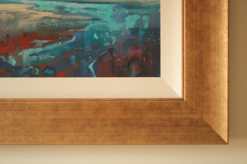 Framed Cyan Sailing painting
