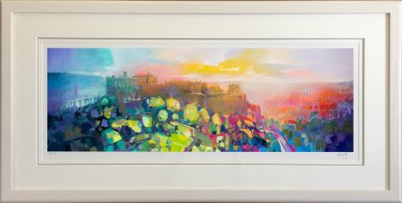 30 x 90cm Edinburgh Castle framed white 2
