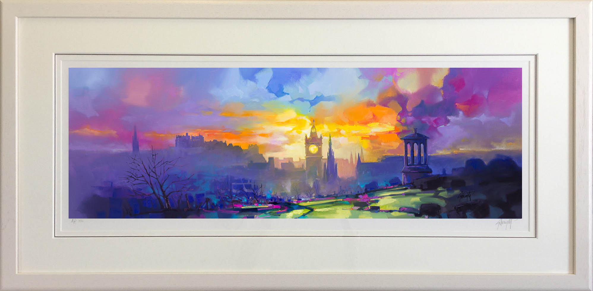 Calton Hill framed in white