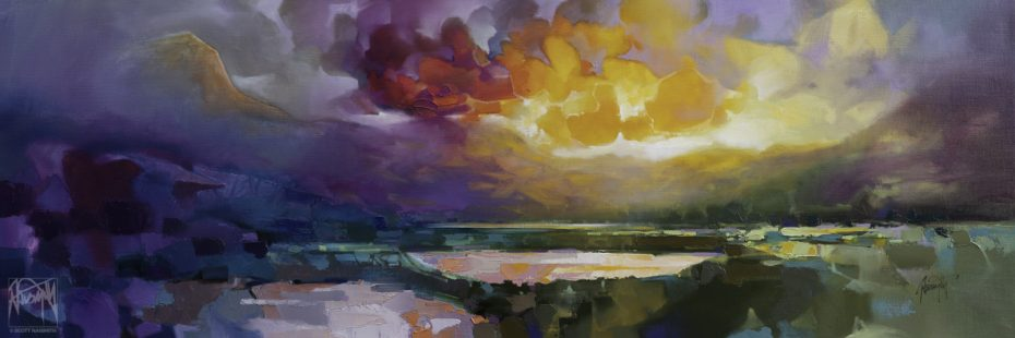 'Etherial Loch' 50 x 150cm original oil on linen by Scott Naismith